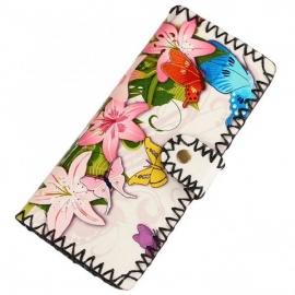 Värikäs lompakko kukkakuviolla