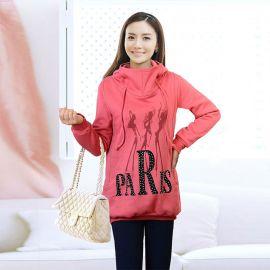 Naisten pitkä vaaleanpunainen Paris huppari