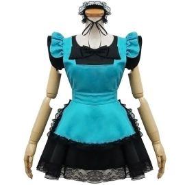 Turkoosi cosplay Lolita meido-asu