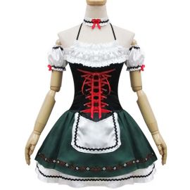 Tummanvihreä korsettimallinen Lolita meido-asu