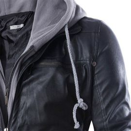 Men's leather jacket with hood