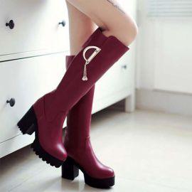 Womens calf length high heel boots