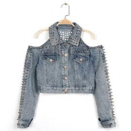 Stylish off the shoulder denim jacket