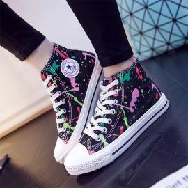Colorful graffiti sneakers